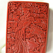 SALE Chinese Phoenix Carved Cinnabar Lacquer Box