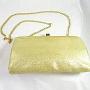SALE Vintage Ande' Designer Evening Shoulder Bag in Gold Lame' with Gold Tone Chain