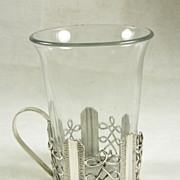 Rare Glass Tumbler with Silver  Plated Holder – c. 1893