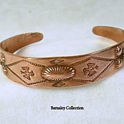 Signed Copper Bell Vintage Native American Copper Cuff Bracelet