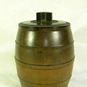 Vintage Marble Brown BAKELITE Barrel Tobacco Jar