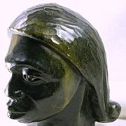 SALE Collectible Carved Soapstone African Female Statue