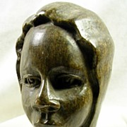 SALE Collectible Carved Soapstone African Female Statue in Head Wrap