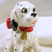 Signed Japan Collectible Dalmatian Puppy with a Big Red Bow