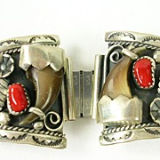 SALE PENDING Vintage Sterling Watch Cuff Band with Turquoise, Coral and Animal Tooth --- SOLD!
