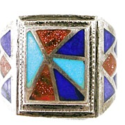 SALE Vintage Native Indian Handcrafted Sterling Silver Ring with Turquoise, Lapis, and Copper