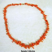 Vintage Coral Branch Necklace with 14K Yellow Gold Clasp
