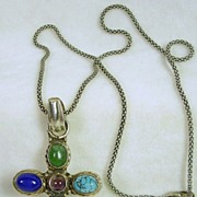 Artisan Crafted Sterling Silver, Jade, Turquoise, Lapis, and Amethyst Cabochon Cross with Chai