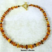 SALE PENDING Collectible Amber Nugget Necklace with Gold Tone Clasp