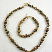 Faceted Tiger's Eye Necklace and Bracelet – Beautiful!