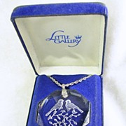Signed Hallmarked Cards, Inc. Vintage Little Gallery Love Bird Crystal Pendant with Chain