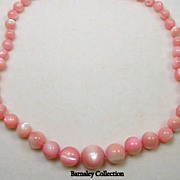 SALE Vintage Polished Coral Beaded Necklace with 14KT Yellow Gold Clasp