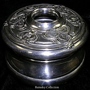 SALE Vintage Silver Plated Vanity Hair Pot
