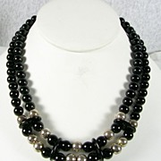 SALE Vintage Double Strand Onyx Necklace with Sterling Silver Beads – c. 1975