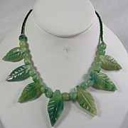 SALE Vintage Carved Leaf Green Jade Necklace with Jade Beads