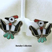 Vintage Sterling Silver Zuni Inlaid Thunderbird/Eagle Clip Earrings