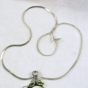 Sterling Silver Pendant Necklace with Peridot, Pearl, and Sea Shell with a Sterling Silver ...