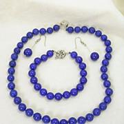 Lapis Necklace Bracelet and Pierced Dangle Earrings