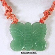 SALE Vintage Coral Nugget Necklace with Jade Butterfly Pendant