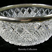 SALE Silver Plated Cut Glass Large Serving Bowl