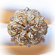 ANTIQUE VICTORIAN 14K Gold & .46 CT TW Diamond Starburst Pin by Krementz!