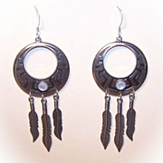 Native American/Southwest STERLING SILVER & Mother of Pearl Feather Drop Earrings!