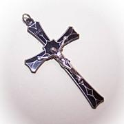 1960s STERLING SILVER & Black Enamel Cross/Crucifix Pendant!