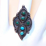Vintage Native American/Southwest STERLING SILVER & Turquoise Ring!