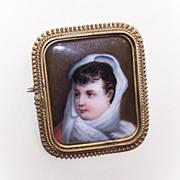 ANTIQUE VICTORIAN Portrait Pin/Brooch - Handpainted Lady on Porcelain!