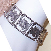 Vintage STERLING SILVER Link Bracelet - Tall Ship/Spanish Galleon!