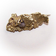 Souvenir of the Klondike! NATURAL Gold Nugget with Quartz Pin/Brooch!