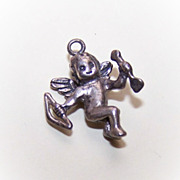 Sweet Vintage STERLING SILVER Charm - Cupid with Bow & Arrow!