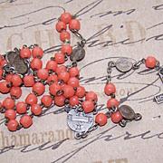 C.1910 BELGIAN Silverplate & Glass Bead Rosary - Precieux Sang de Bruges!