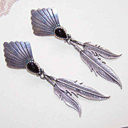 Native American STERLING SILVER & Black Onyx Drop Earrings!