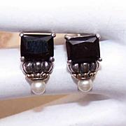 Elegant STERLING SILVER, Rhinestone & Faux Pearl Fashion Earrings!