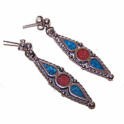 SALE Vintage STERLING SILVER & Inlaid Turquoise/Coral Drop Earrings!