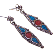 Vintage STERLING SILVER & Inlaid Turquoise/Coral Drop Earrings!