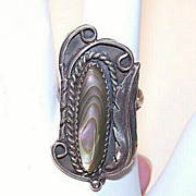 Vintage NATIVE AMERICAN Sterling Silver & Abalone Ring!