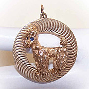1960s 14K Gold Disc Charm/Pendant - French Poodle with Sapphire Eyes!