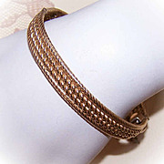 1950s GOLD FILLED Cuff Bracelet  - Twisted Wire Front!
