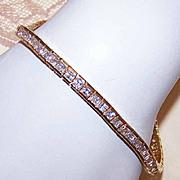 80s Sterling Silver Vermeil & 9.60CT TW CZ Tennis Bracelet!