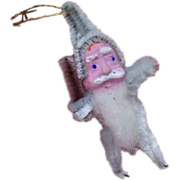 1960s Made in Japan BLUE CHENILLE Santa Ornament - Clay Face!