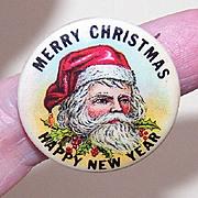 1950s CELLULOID Santa Claus Christmas Pin - Merry Xmas/Happy New Year