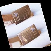 Vintage 10K Gold & Diamond Cufflinks/Cuff Links by Anson - Engraved JP!