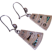 1950s Mexican STERLING SILVER & Abalone Inlay Earrings by Miguel!