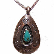 Native American STERLING SILVER & Faux Turquoise Shadowbox Pendant!