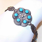 Vintage Mid-East Silver-Tone Costume Link Bracelet with Blue Stones!