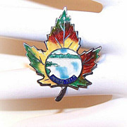 1930s STERLING SILVER & Enamel Maple Leaf Pin for Niagara Falls!