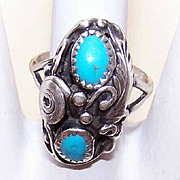 Native American STERLING SILVER & Turquoise Ring - Designer Signed!