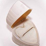 1950s Hard Plastic HEART SHAPED Ring Box!